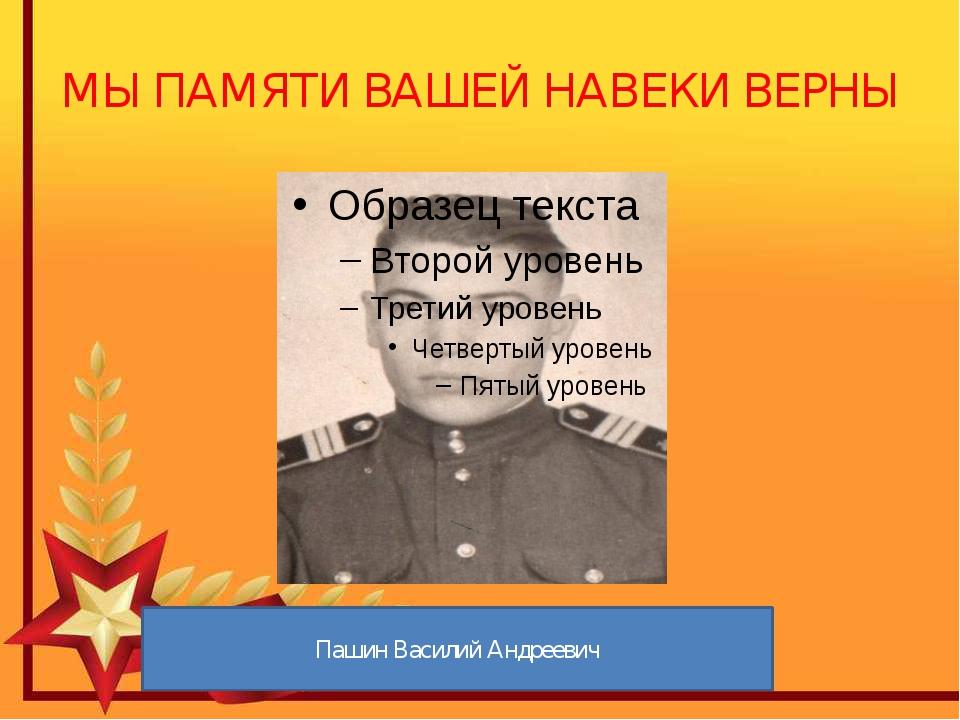 МЫ ПАМЯТИ ВАШЕЙ НАВЕКИ ВЕРНЫ Пашин Василий Андреевич