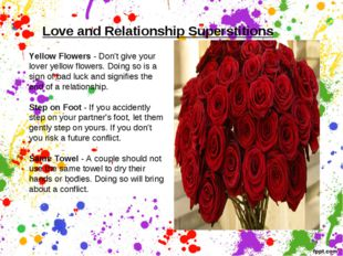 Love and Relationship Superstitions   Yellow Flowers - Don't give your lover