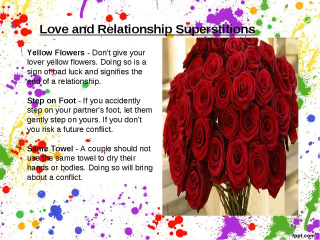 Love and Relationship Superstitions   Yellow Flowers - Don't give your lover...
