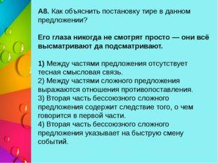 А8. Как объяснить постановку тире в данном предложении? Его глаза никогда не