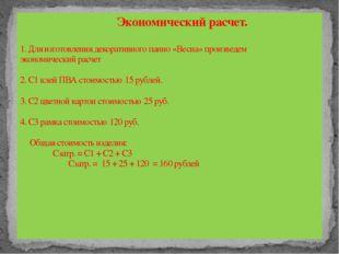 Экономический расчет. 1. Для изготовления декоративного панно «Весна» произв