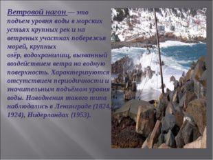 Ветровой нагон— это подъем уровня воды в морских устьях крупных рек и на вет
