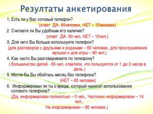 1. Есть ли у Вас сотовый телефон? (ответ ДА- 85человек, НЕТ – 15человек) 2. С