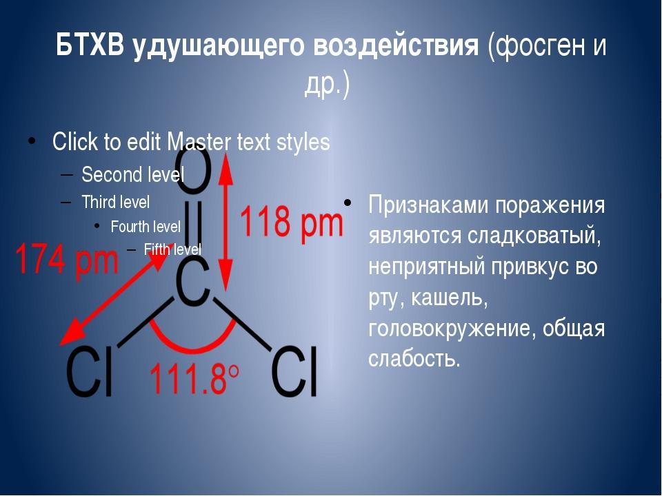 БТХВ удушающего воздействия (фосген и др.) Признаками поражения являются слад...