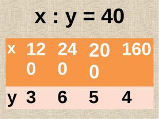 х : у = 40 х120240200160 у3654