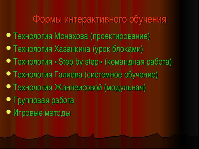 Формы интерактивного обучения Технология Монахова (проектирование) Технология...