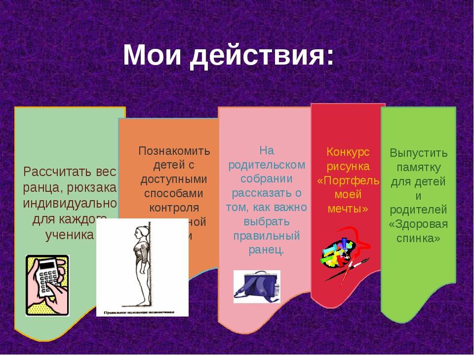 Мои действия: Рассчитать вес ранца, рюкзака индивидуально для каждого ученика...