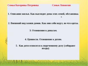 Семья Катерины Петровны СемьяЛевонтия 1. Описание жилья. Как выглядят дома эт