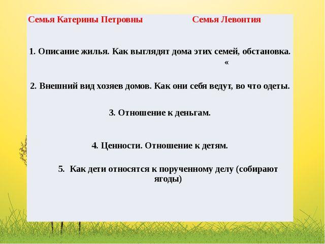 Семья Катерины Петровны СемьяЛевонтия 1. Описание жилья. Как выглядят дома эт...