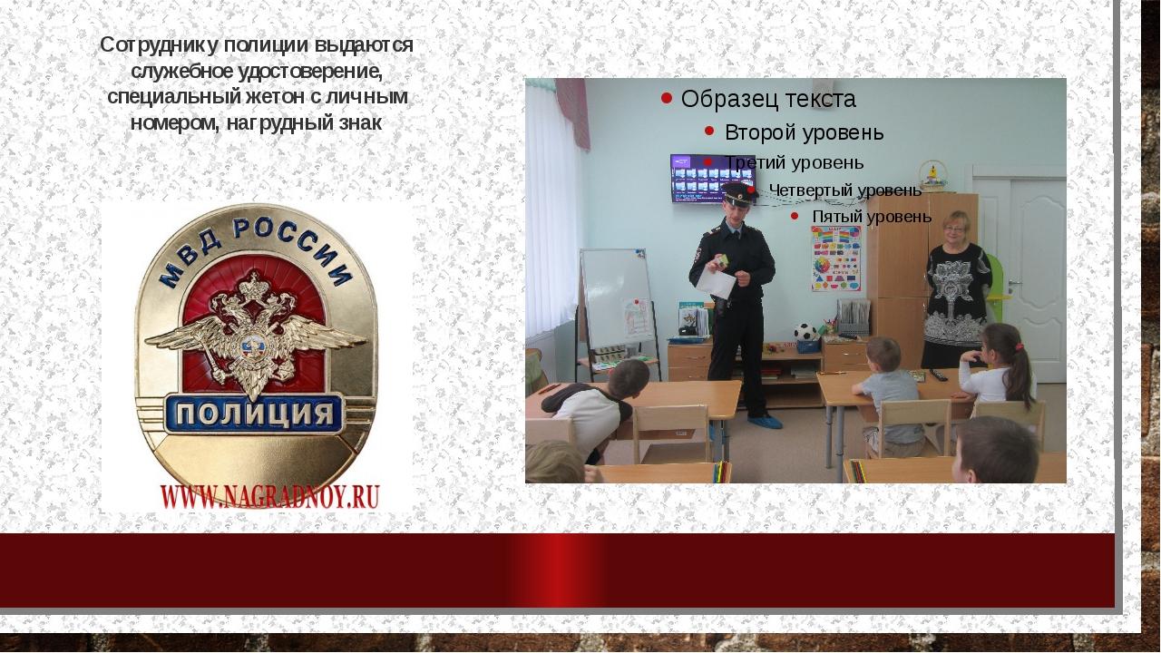 Сотруднику полиции выдаются служебное удостоверение, специальный жетон с личн...