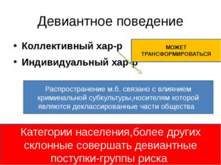 Девиантное поведение Коллективный хар-р Индивидуальный хар-р МОЖЕТ ТРАНСФОРМИ