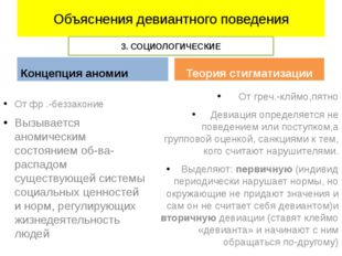 Объяснения девиантного поведения Концепция аномии От фр .-беззаконие Вызывает