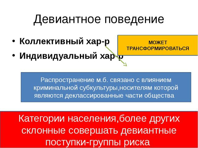 Девиантное поведение Коллективный хар-р Индивидуальный хар-р МОЖЕТ ТРАНСФОРМИ...