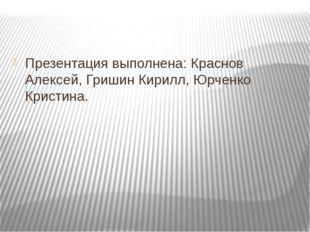 Презентация выполнена: Краснов Алексей, Гришин Кирилл, Юрченко Кристина.