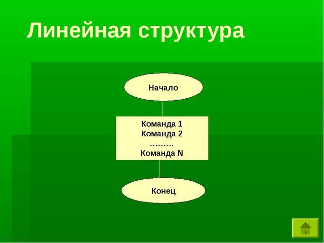 Линейная структура Начало Команда 1 Команда 2 ……… Команда N Конец