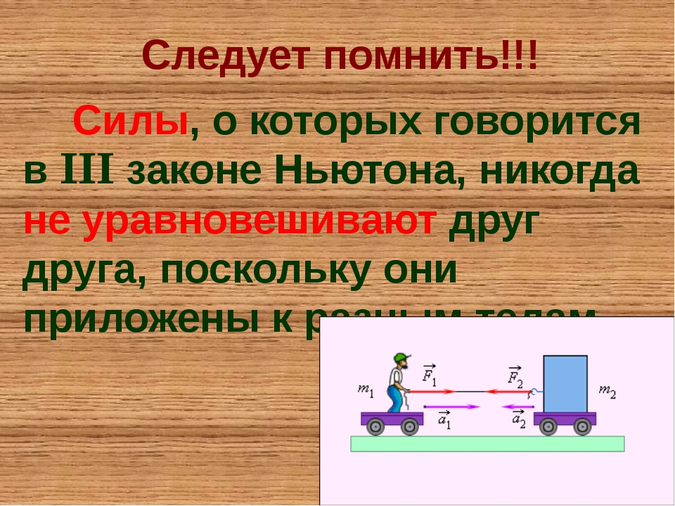 Следует помнить!!! Силы, о которых говорится в III законе Ньютона, никогда не...