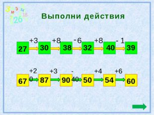 Выполни действия 27 39 +3 +8 6 +8 - 1 30 38 32 40 67 60 +20 +3 - 40 +4 +6 87