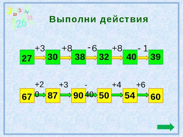 Выполни действия 27 39 +3 +8 6 +8 - 1 30 38 32 40 67 60 +20 +3 - 40 +4 +6 87...