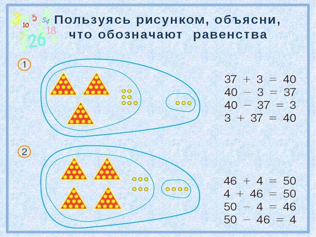 Пользуясь рисунком, объясни, что обозначают равенства №78 стр.22