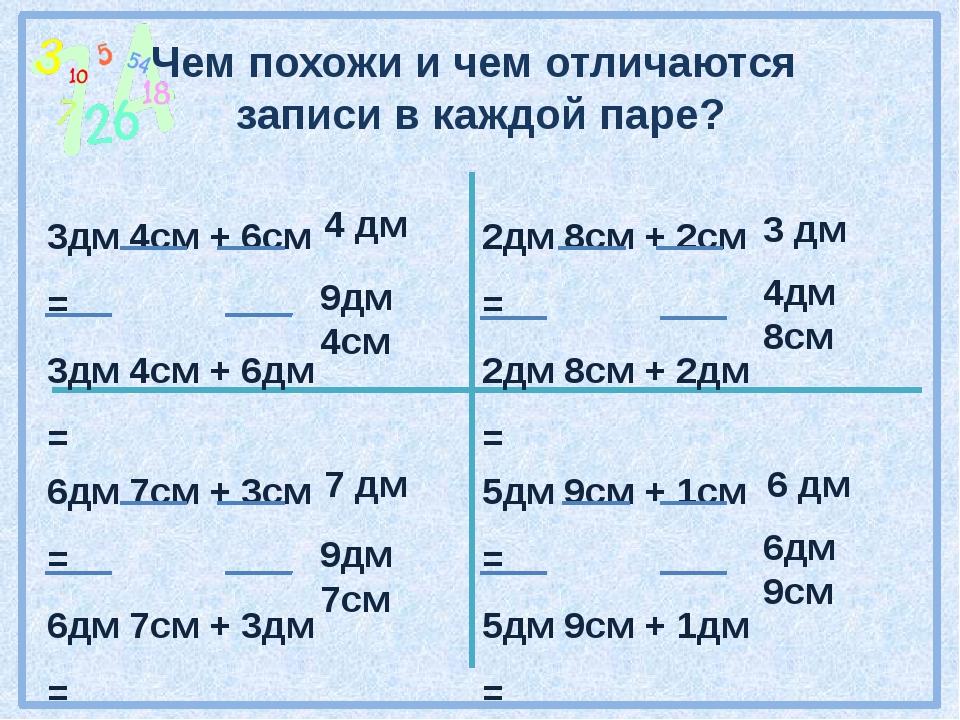 Чем похожи и чем отличаются записи в каждой паре? 3дм 4см + 6см = 3дм 4см + 6...
