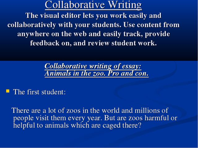 Collaborative Writing The visual editor lets you work easily and collaborativ...