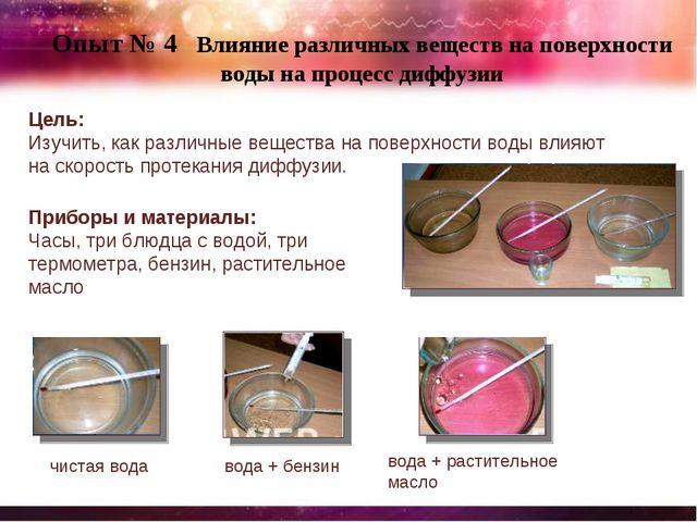Опыт № 4 Влияние различных веществ на поверхности воды на процесс диффузии Це...