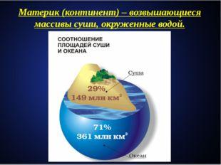 Материк(континент)– возвышающиеся массивы суши, окруженные водой.