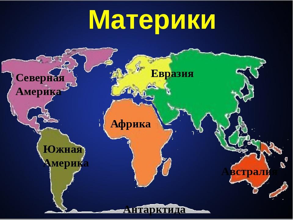 Материки Северная Америка Южная Америка Африка Евразия Австралия Антарктида