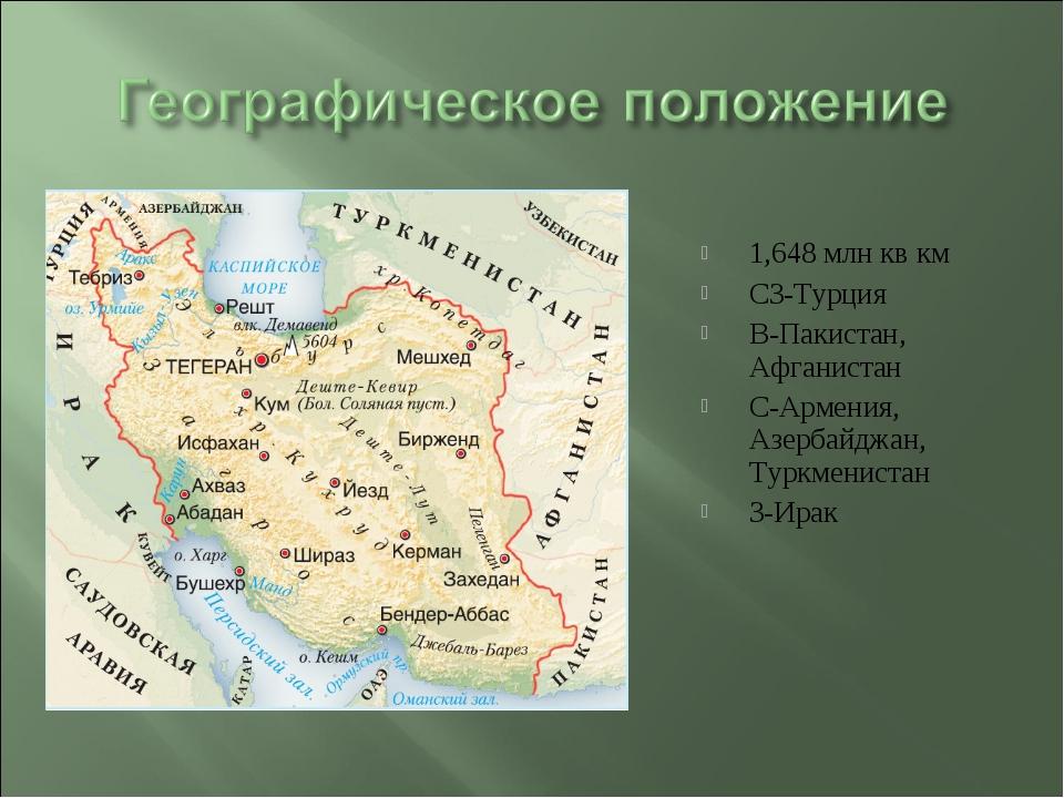 1,648 млн кв км СЗ-Турция В-Пакистан, Афганистан С-Армения, Азербайджан, Турк...