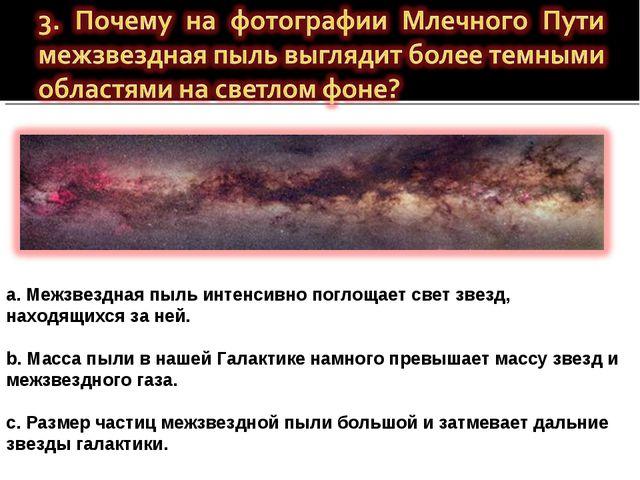 a. Межзвездная пыль интенсивно поглощает свет звезд, находящихся за ней. b. М...
