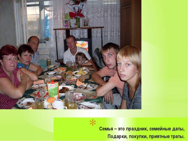 Семья – это праздник, семейные даты, Подарки, покупки, приятные траты.