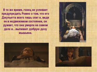В то же время, гонец не успевает предупредить Ромео о том, что его Джульетта
