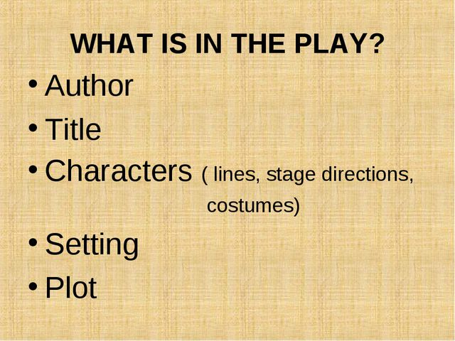 WHAT IS IN THE PLAY? Author Title Characters ( lines, stage directions, costu...