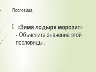 Пословица. «Зима лодыря морозит» -Объясните значение этой пословицы.