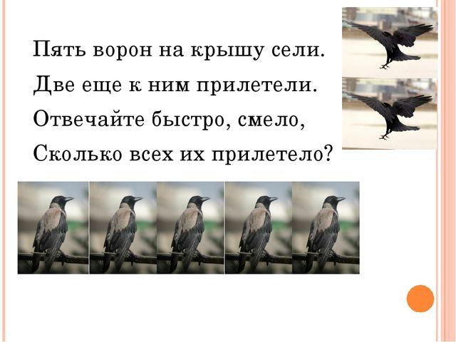 Пять ворон на крышу сели. Две еще к ним прилетели. Отвечайте быстро, смело, С...