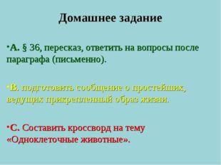 Домашнее задание А. § 36, пересказ, ответить на вопросы после параграфа (пись