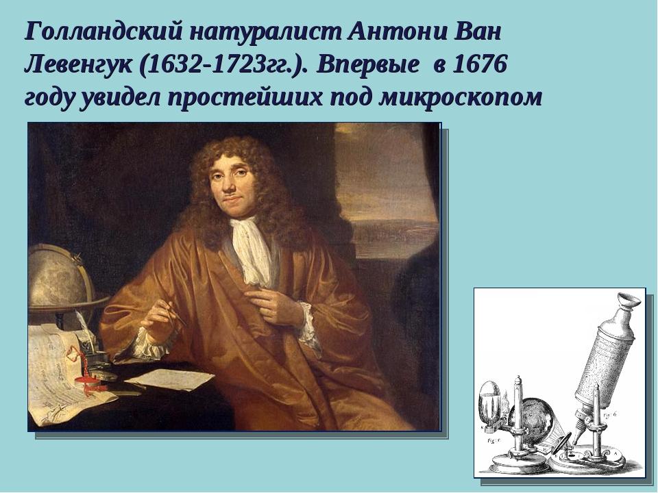 Голландский натуралист Антони Ван Левенгук (1632-1723гг.). Впервые в 1676 год...