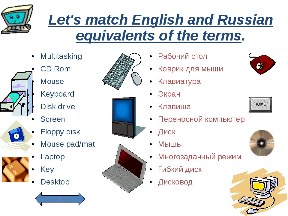 Let's match English and Russian equivalents of the terms. Multitasking CD Rom...