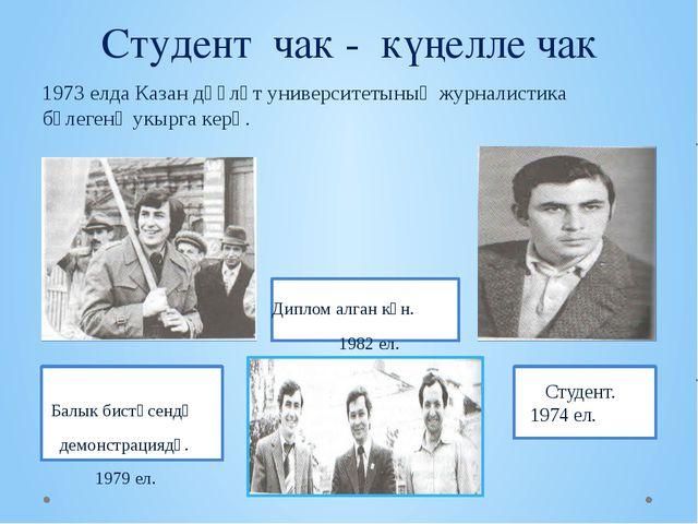 Студент чак - күңелле чак 1973 елда Казан дәүләт университетының журналистик...