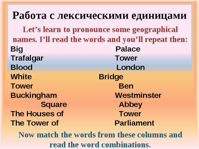 Работа с лексическими единицами Let's learn to pronounce some geographical na...