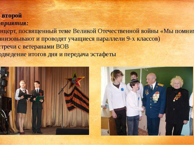День второй Мероприятия: Концерт, посвященный теме Великой Отечественной войн...