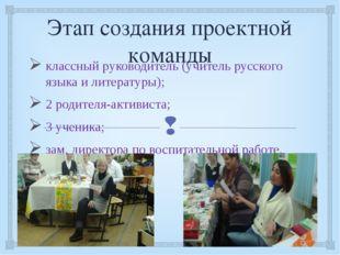 Этап создания проектной команды классный руководитель (учитель русского языка