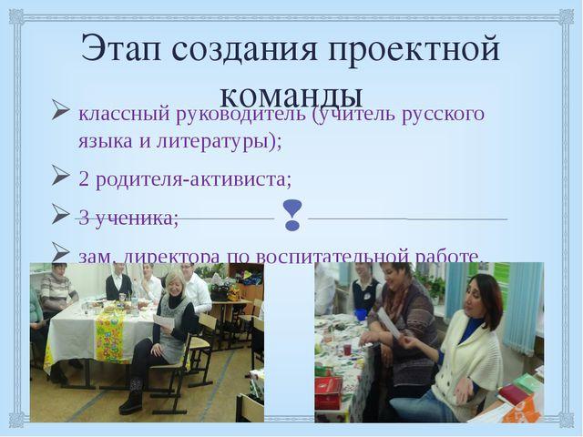 Этап создания проектной команды классный руководитель (учитель русского языка...