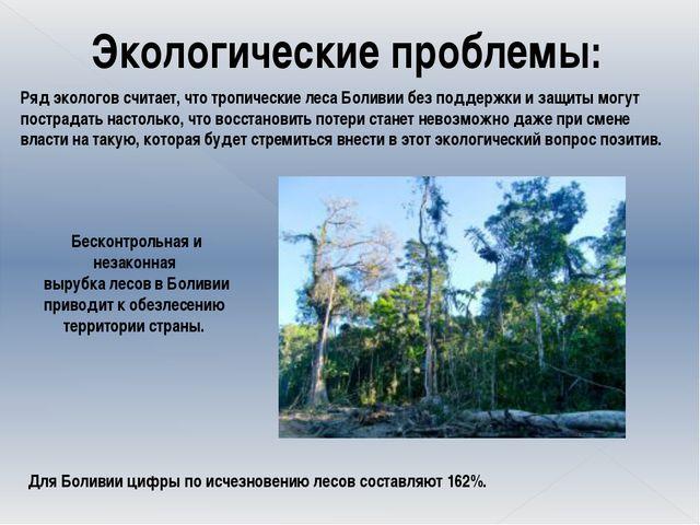 Экологические проблемы: Ряд экологов считает, что тропические леса Боливии б...