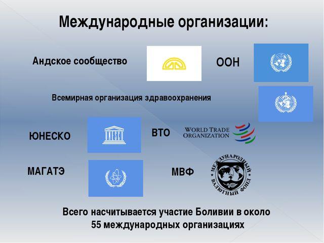 Международные организации: Андское сообщество ООН Всемирная организация здра...