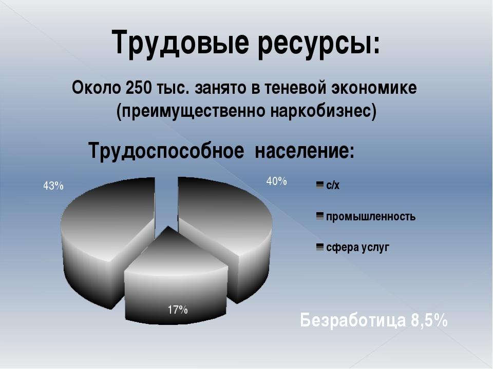 Трудовые ресурсы: Около 250 тыс. занято в теневой экономике (преимущественно...