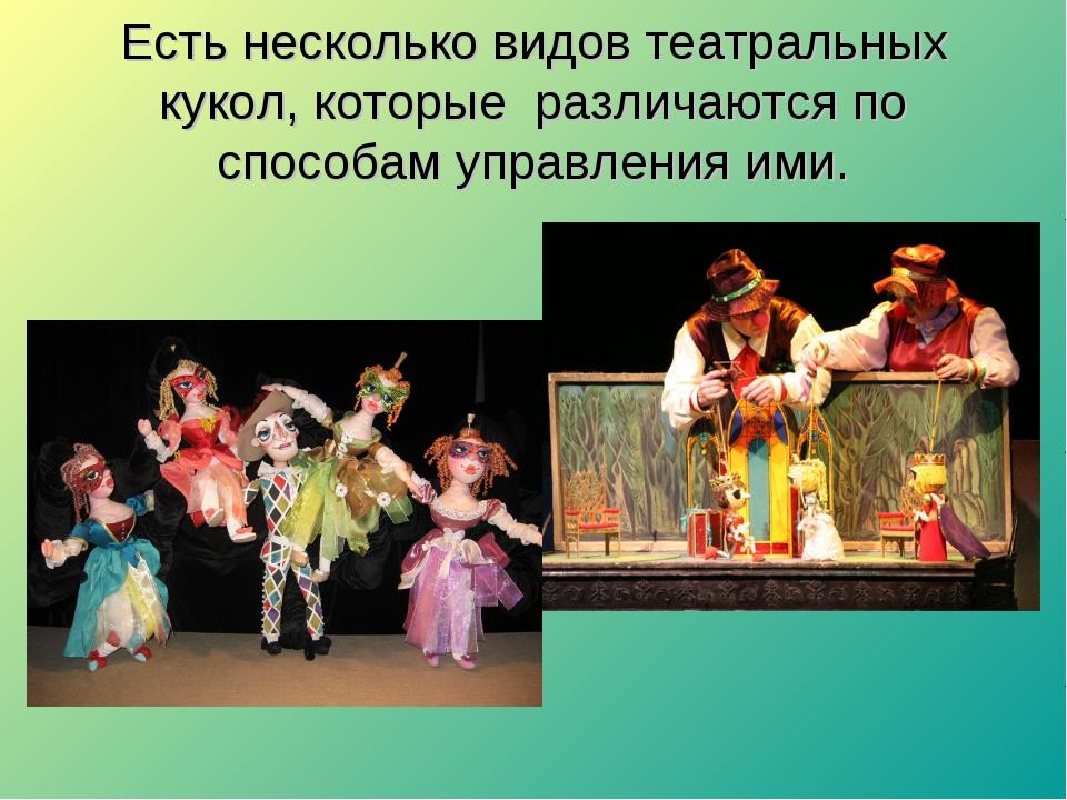 Есть несколько видов театральных кукол, которые различаются по способам управ...
