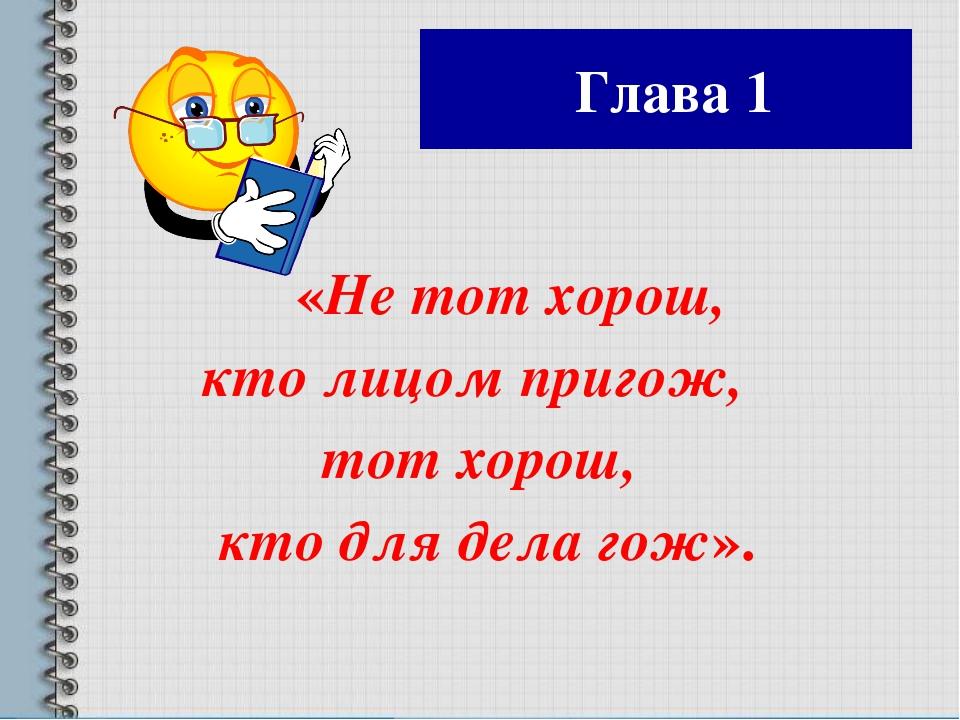 Глава 1 «Не тот хорош, кто лицом пригож, тот хорош, кто для дела гож».