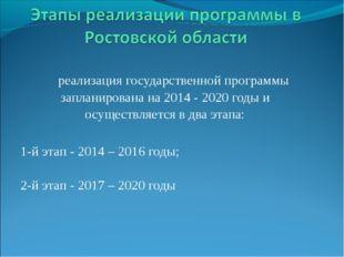 реализация государственной программы запланирована на 2014 - 2020 годы и осу