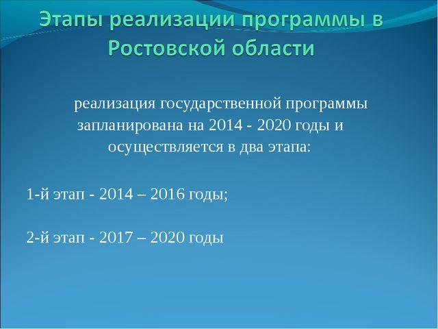 реализация государственной программы запланирована на 2014 - 2020 годы и осу...